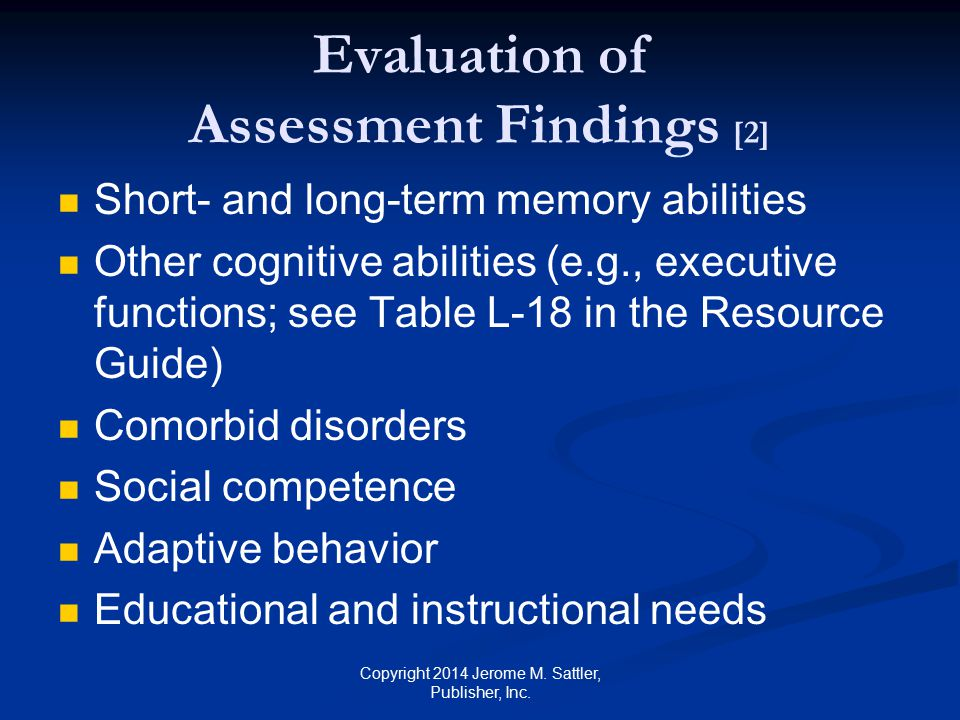 Evaluation of Assessment Findings [2]